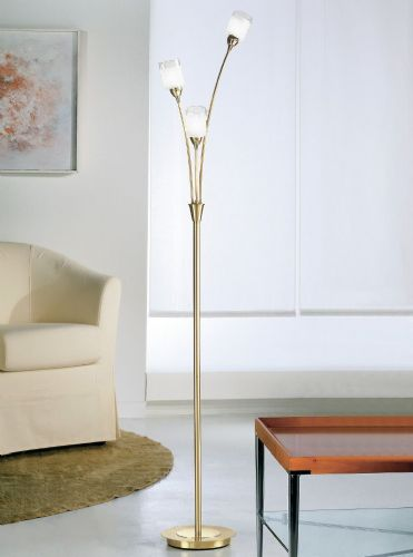 Franklite SP80013 Polished / Satin Brass Floor Lamp (Class 2 Double Insulated)